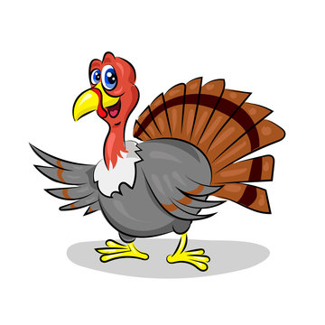 cartoon cute vector turkey at the white background