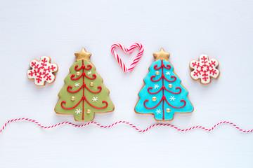 Christmas homemade gingerbread snowflake  and christmas tree coo