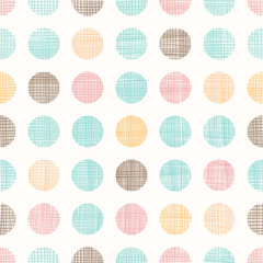 Vector Vintage Dots Circles Seamless Pattern Background With Fabric Texture. Perfect for nursery, birthday, circus or fair themed designs.