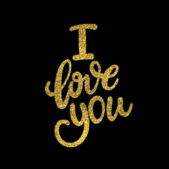 Love You, hand written lettering. Romantic calligraphy