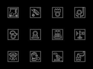 Golf sport flat white line vector icons set