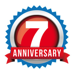 Seven years anniversary badge with red ribbon