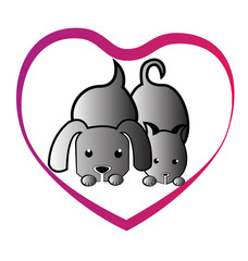 Cat dog love heart logo vector image