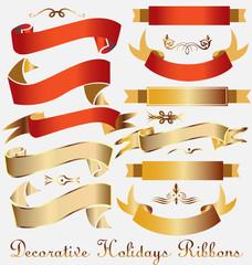 Holidays decoration ribbons vector set