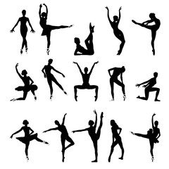 Silhouettes of dancers, ballet, dance, pointe