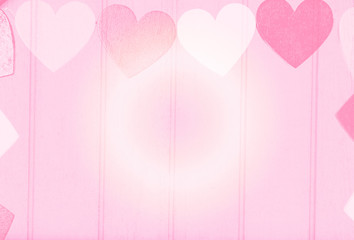 Lovely Pink hearts on hard wood for valentine background, filtered tones