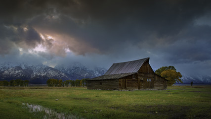 Mormon Barn at Sunset