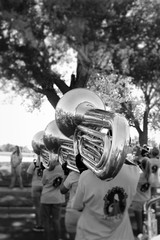 Tuba players lined up for a small town parade