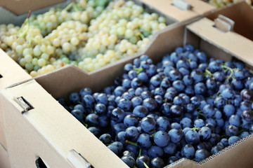 Cardboard box with juicy grapes on market, closeup