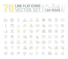 Vector graphic set of icons in flat, contour, thin and linear design. Las Vegas. Slot machine, casino, poker. Gambling. Concept infographics for entertainment city for Web site and app.