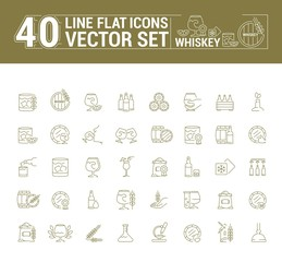 Vector graphic set of icons in flat, contour, thin and linear design. Scottish, Irish alcoholic drink whiskey. Concept infographic for Web site, app. Sign, symbol, emblem.