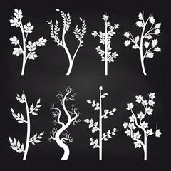 White tree silhouette design on chalkboard background. Vector illustration
