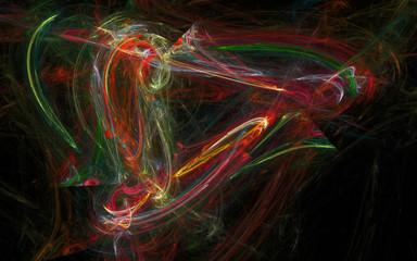 Fractal composition on black background.
