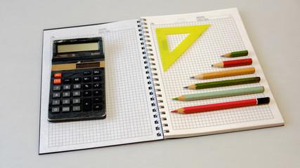 notebook notebook calculator pencil