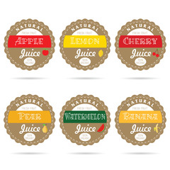 label of set natural fruit health design illustration