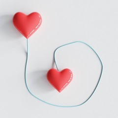 Couple hearts with blue line of connection. minimal concept idea.