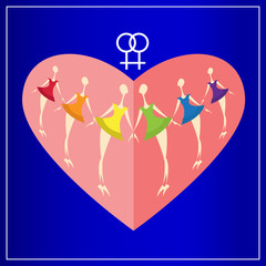 Six lesbian girls in dresses colors of the rainbow on a background of red heart. Happy Valentine's Day. Greeting card. Flat icon.