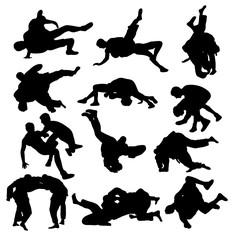 Wrestling Sport Activity Silhouettes, art vector design