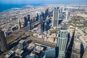 Burj Khalifa view from the top, Panorama Dubai. The top view on