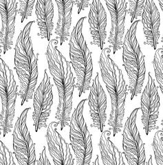 Hand drawn graphic feathers seamless pattern