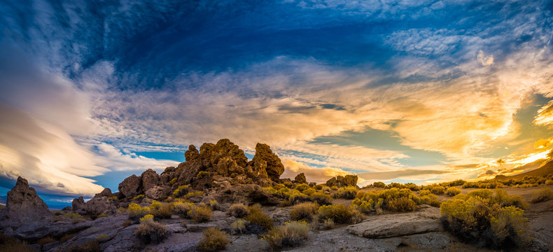Pyramid Lake Nevada Tufas at Sunset Panorama