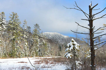 Snow covered Oxbow Mountain in the Adirondacks