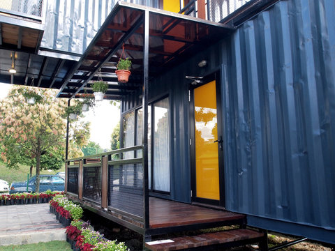 A community building made from refurbish shipping container.