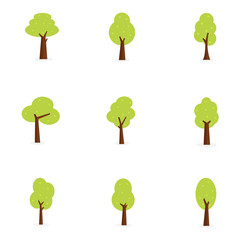 Set of tree collection vector