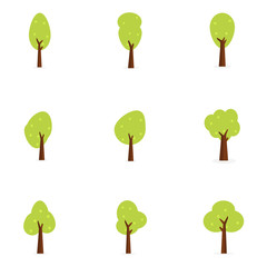 Set of tree flat design vector