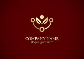 organic leaf technology gold logo