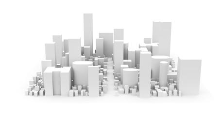 City Landscape, Isolated on White Background