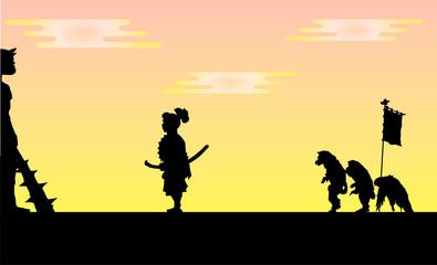 桃太郎と鬼のシルエット