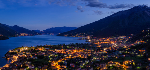 Lago di Como (Lake Como) high definition panorama at blue hour