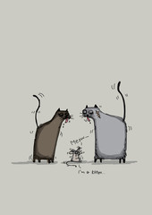 Illustration of a cat and a mouse, cartoon character, hand draw