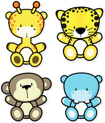 vector cartoon illustration of four baby jungle animals isolated on white background, ideal for children decoration