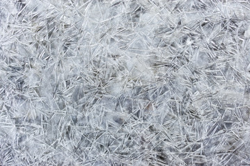 texture of real ice surface of river in winter