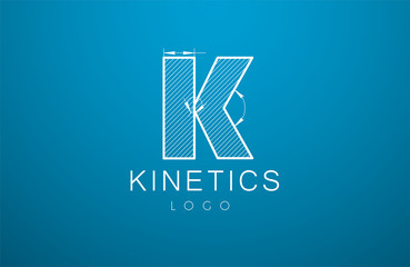 logo template letter K  in the style of a technical drawing.