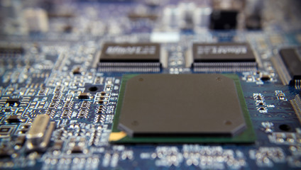 computer chip board Electronics motherboard high tech green blue