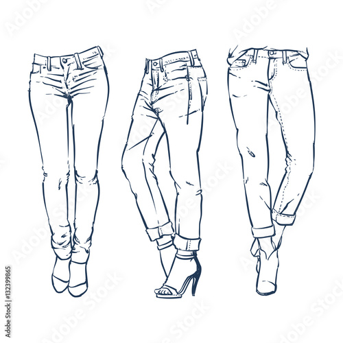 Hand drawn fashion design womens jeans outline clip art stock hand drawn fashion design womens jeans outline clip art voltagebd Image collections