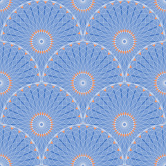 Seamless tile with rosette flowers scales in orange and blue