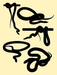 Snakes animal silhouette. Good use for symbol, logo, web icon, mascot, tattoo, sign, or any design you want.