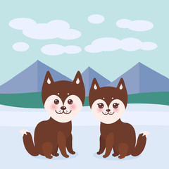 Kawaii funny brown husky dog, face with large eyes and pink cheeks, boy and girl, mountain landscape background. Vector