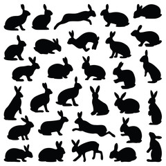 Rabbit and Hare collection - vector silhouette