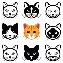 Cat head icon collection - vector illustration