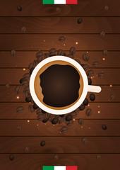 Italian Coffee Banner. Coffee Time. Cup, grain, Vector flat illustration.