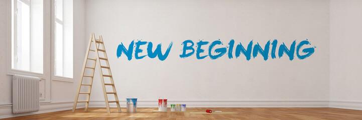 New Beginning an Wand bei Renovierung