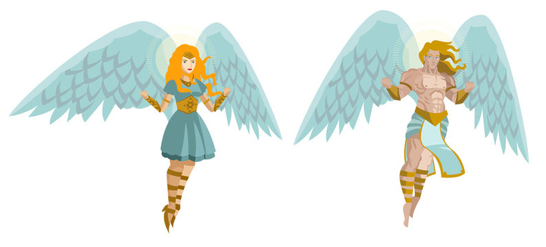 two angels man and woman