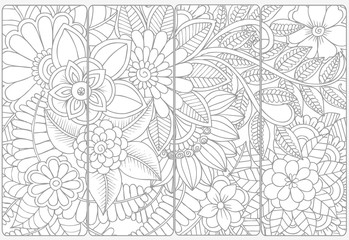 Set of four monochrome bookmarks .Floral doodling for coloring
