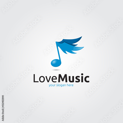 quotmusic note logo with blue wingsquot stock image and royalty