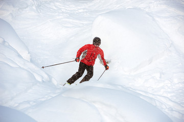 Young skier off-piste backcountry freeride